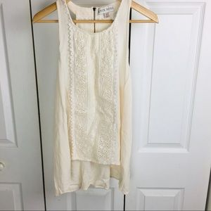 Knox Rose crochet detail linen-style blouse w/zip